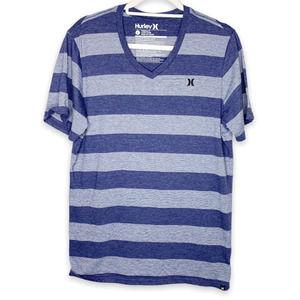 Men's Hurley V-Neck Striped T-Shirt Large